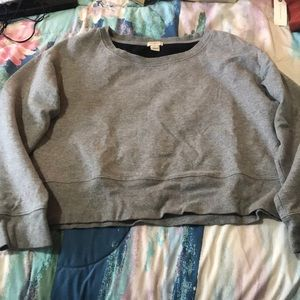 Jcrew cropped grey sweatshirt